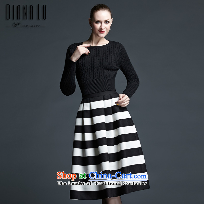 Stylish spring and autumn, DL business and leisure short black sweater long skirt Kit Black?XL