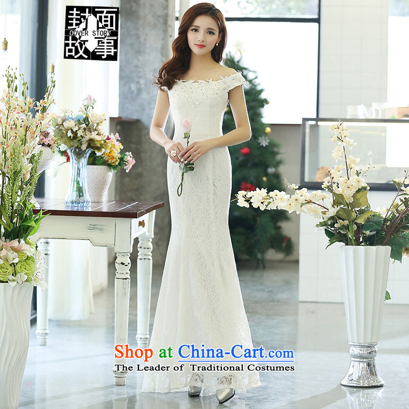 Cover Story 2015 new minimalist slotted shoulder crowsfoot video thin bride wedding dress bride to align the bows of the Sau San dinner dress with women white L