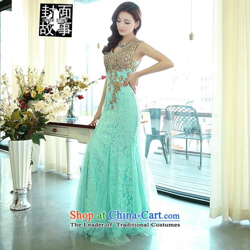Cover Story 2015 new luxury on chip elegant sexy shoulders crowsfoot bride dress car models to the moderator will drink water green dress bride?S