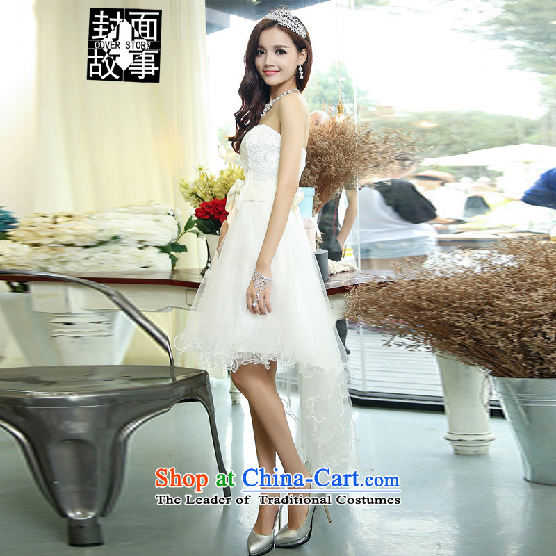 Cover Story 2015 new anointed chest lace bon bon petticoats Bow Tie Foutune of video thin version tail bridesmaid dress bridal dresses with bows white S