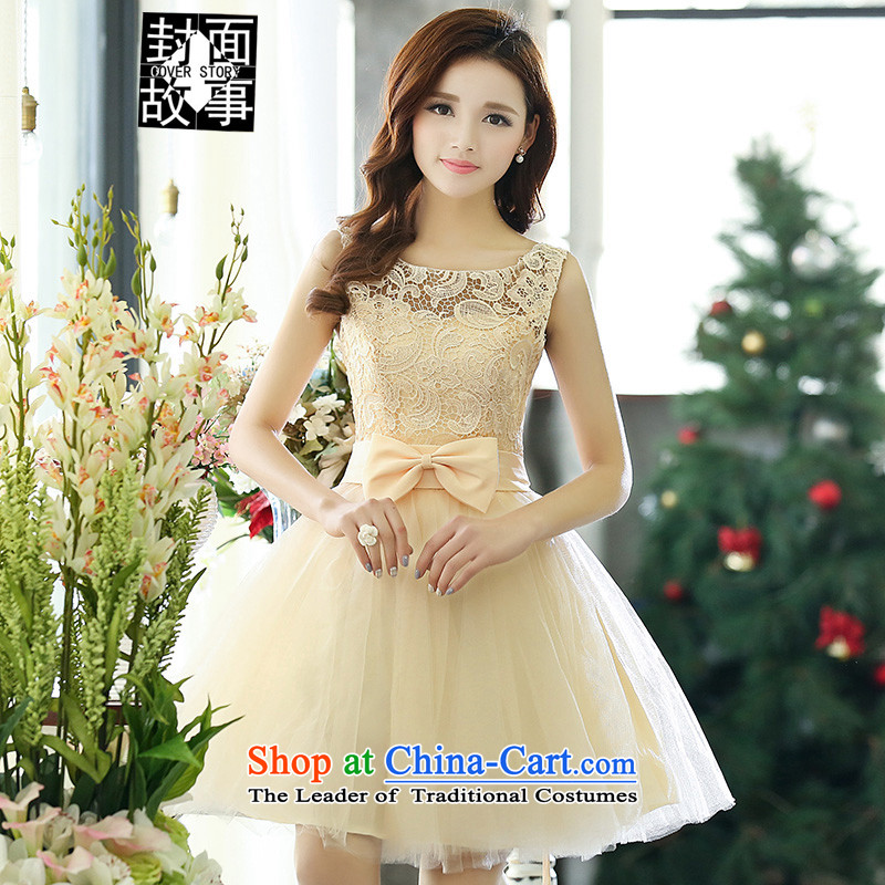 Cover Story 2015 New Silk flower buds bow tie foutune bon bon lace dress bows dress bride replacing bridesmaid dress dresses rice white L