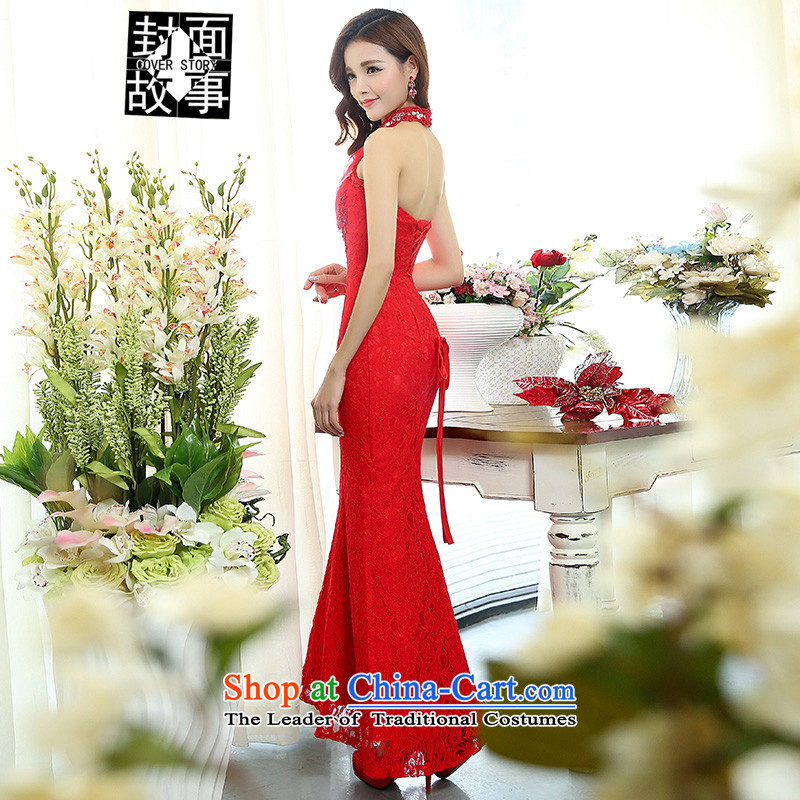 Cover Story 2015 Back evening dress the new bride dress bows dresses temperament brides with annual wedding dresses, under the auspices of long red?XL