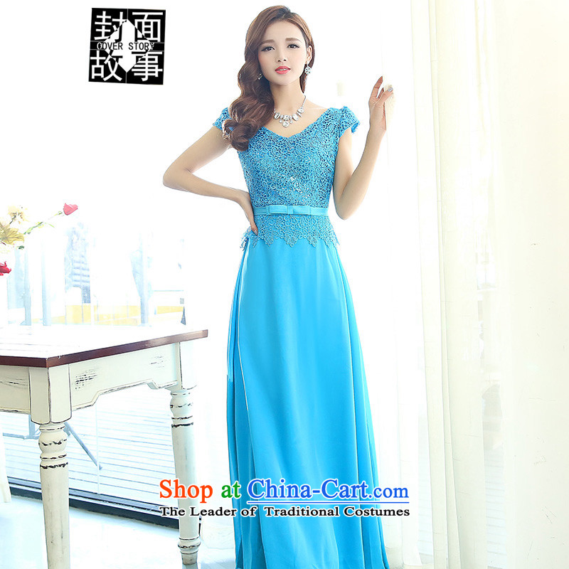 Cover Story 2015 new stylish look of Sau San long atmospheric V-Neck dress bride with bride bows dress dresses blue�XXL