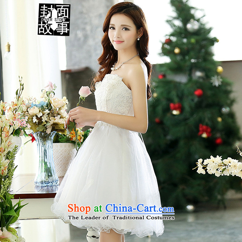 Cover Story in 2105 put the new small chest dress bon bon skirt the bride with a drink tea dresses bride respectfully bridesmaid dress dresses white?S