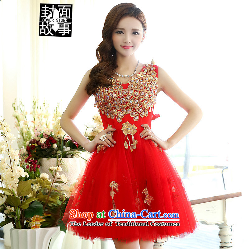 Cover Story 2015 new magnificent diamond V-Neck short of small dress bride with a drink tea king dresses bridal dresses female RED?M