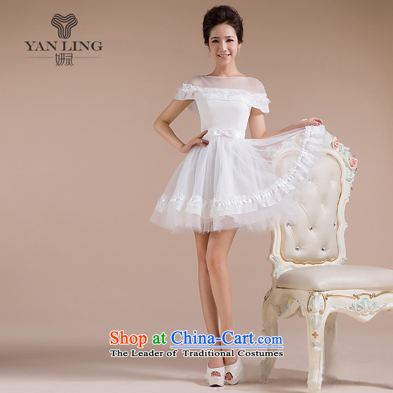 2015 new threw lace skirt the word yarn shoulder and sexy luxury sweet elegant small dress LF165 White�M