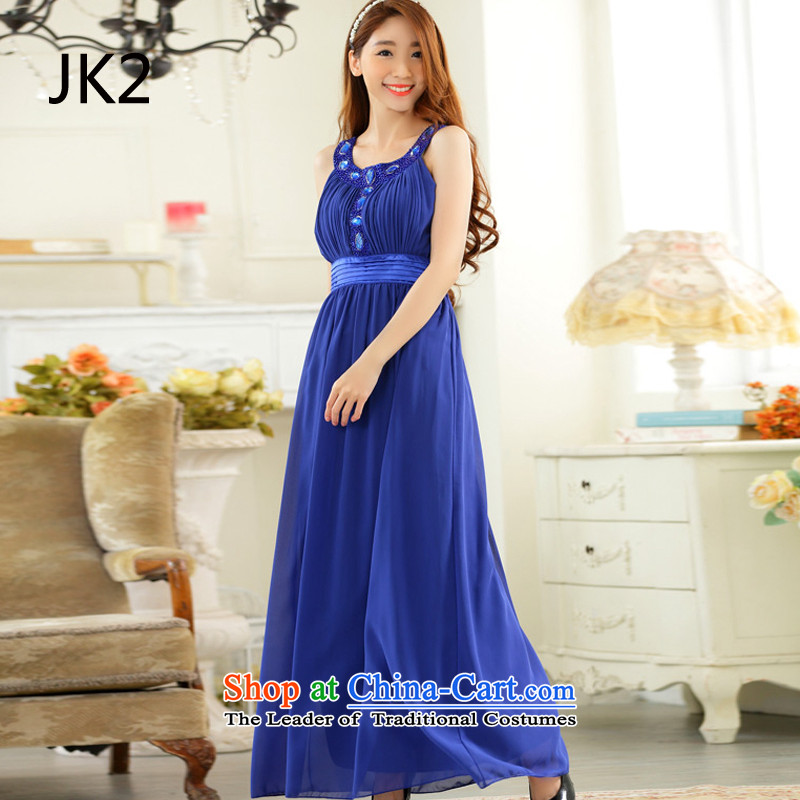 ��Kampala shoulder plain manual JK2 nail on the Pearl River delta drilling-long gown chiffon dresses blue�XXL