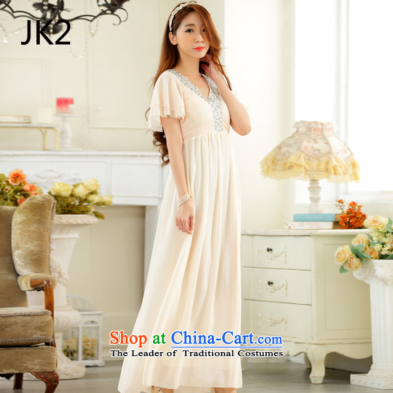 �Annual meetings of the horn come on cuff JK2 chip V-neck-long gown chiffon dresses�XXXL champagne color