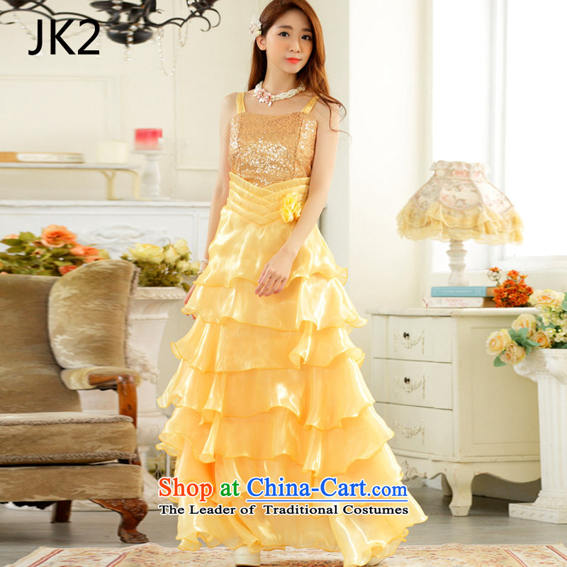 The finishing touch to the evening performances which drug store front auspices skirt large princess skirt straps long evening dresses dresses JK2 YELLOW?XXL