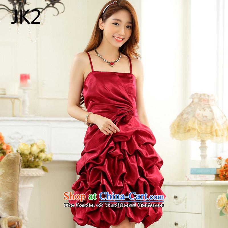 Stylish evening dress straps for wrinkle show skirt lanterns skirt host dress dresses JK2 wine red�XXL