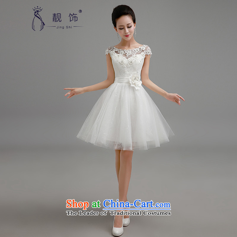 The new 2015 International Friendship bridesmaid to dress a field white lace flower shoulder short skirts bon bon skirt straps small dress sister skirt bridesmaid services white L