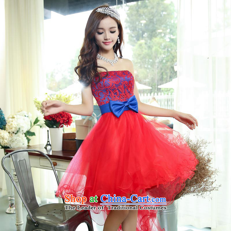 Caesar 180 wedding dresses new 2015 Red Dress marriages female bows bridesmaid services winter clothing and chest bon bon skirt swinging under tail red with blue?S