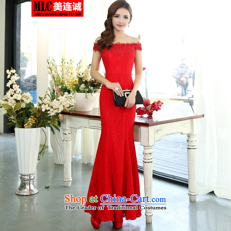 Mei Lin Shing 2015 new Korean fashion Sau San dress marriages long drink service banquet moderator evening dresses red�L