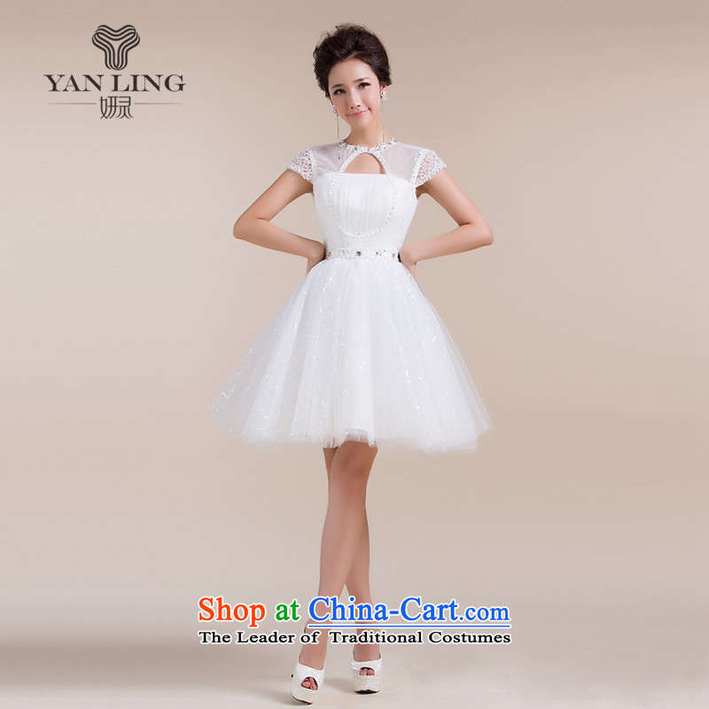 2015 new anointed chest engraving a shoulder stylish skirt field small dress bridesmaid services white?s