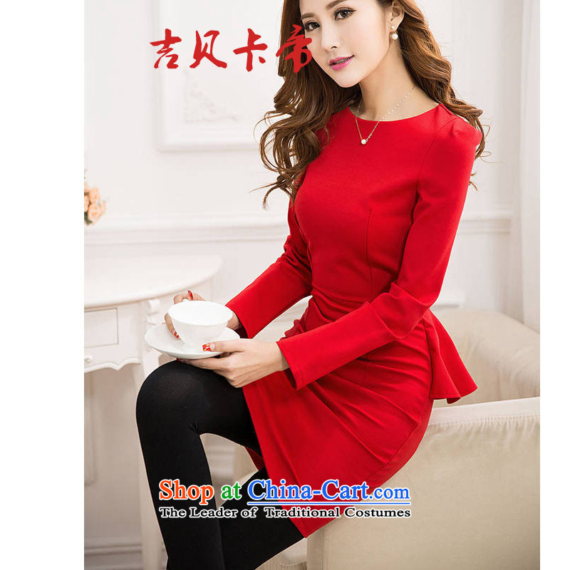 Gibez card in Dili, long-sleeved elegant spring 2015 Sau San, forming the gift of the Korean version of service skirt marriage Red Dress Female Red�L