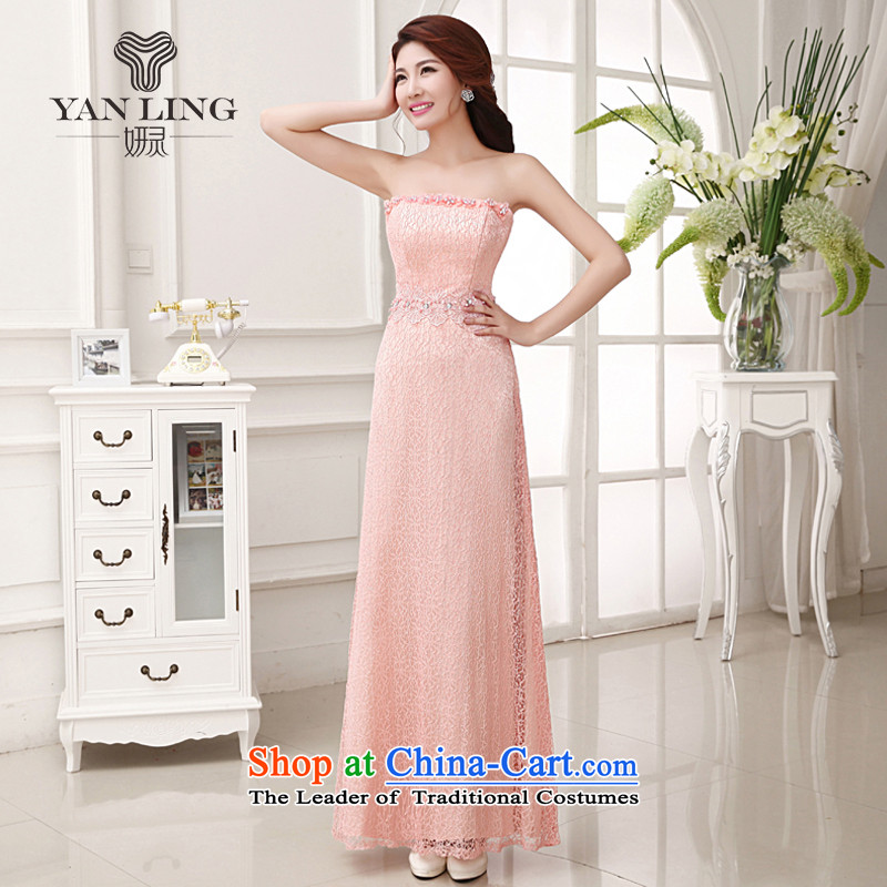 2015 bride wedding dress long bows and breast-pink stylish evening dresses bridesmaid troupe LF235 rose red�XL