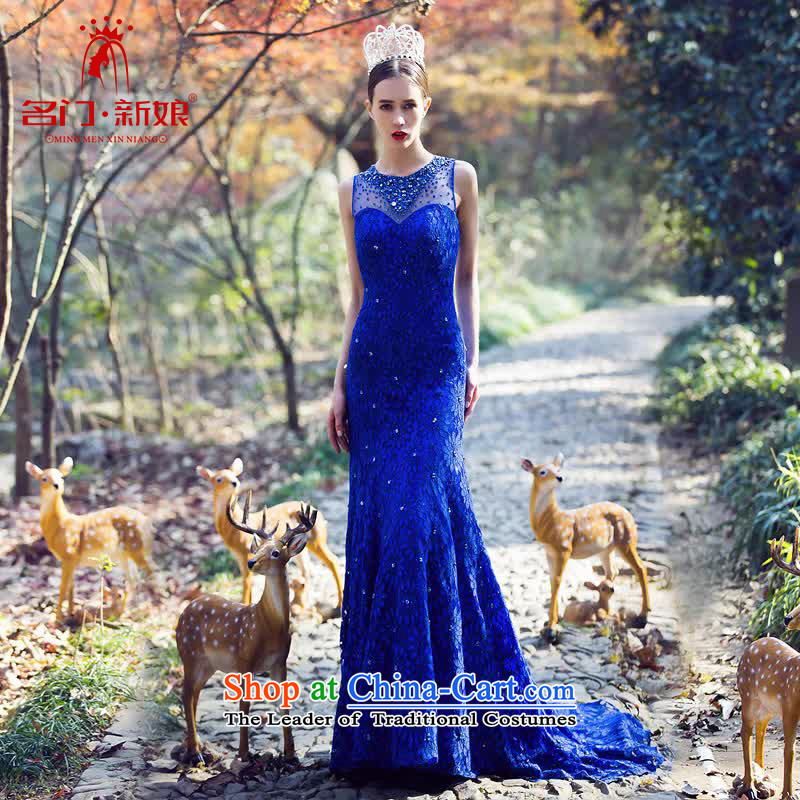A Bride luxury drill Po-blue dress crowsfoot small trailing dress lace Sau San Dinner 2208 Blue L pre-sale 3 day shipping