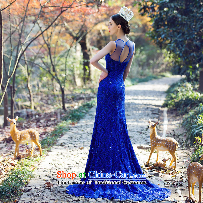 A Bride luxury drill Po-blue dress crowsfoot small trailing dress lace Sau San Dinner 2208 Blue L pre-sale 3 Day Shipping, a bride shopping on the Internet has been pressed.