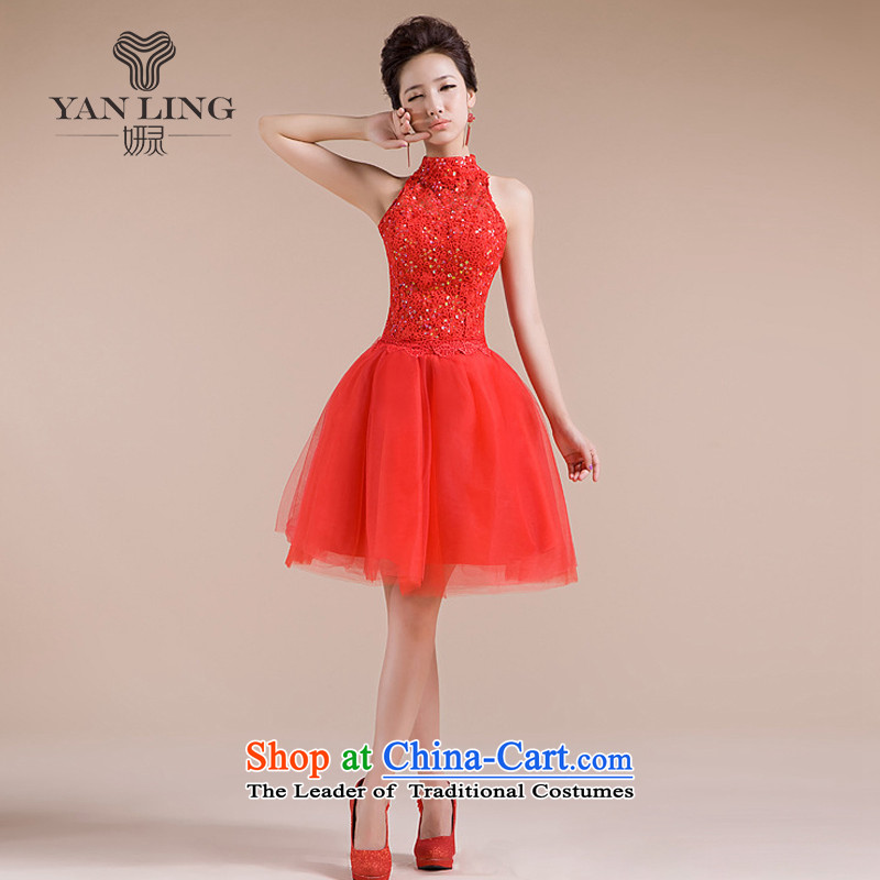 2015 New Hang also engraving on chip decorated pattern back elegant sexy small dress LF158 RED?XXL
