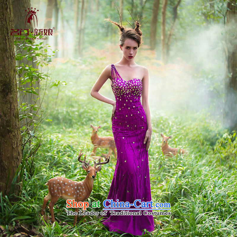 A Bride wedding dresses?2015 Original Design purple jackets sum female luxury drill 2,219 officers purple?S