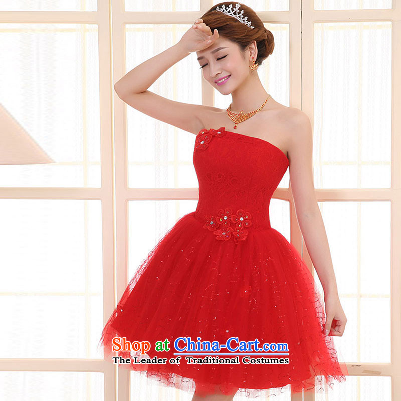 The knot true love bride bows services 2014 new red wedding dress skirt shoulders short, wedding dresses banquet dinner dress winter red anointed chest?XL