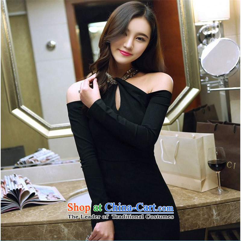 Connie, Texas real concept 2015 new sexy aristocratic hang also engraving bare shoulders of the forklift truck package and long-sleeved dresses dress long skirt black聽L