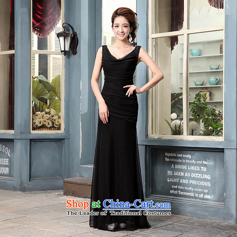 The knot true love evening dresses 2014 new long shoulders marriages bows service banquet performances crowsfoot evening dress autumn and winter female black�M