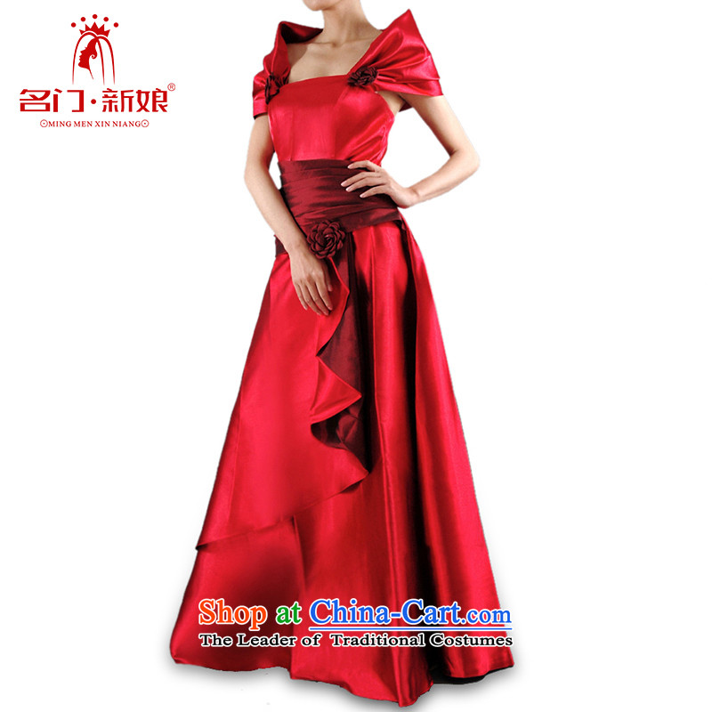 A stylish and elegant bows her dress and bride Red Dress�003�red�S