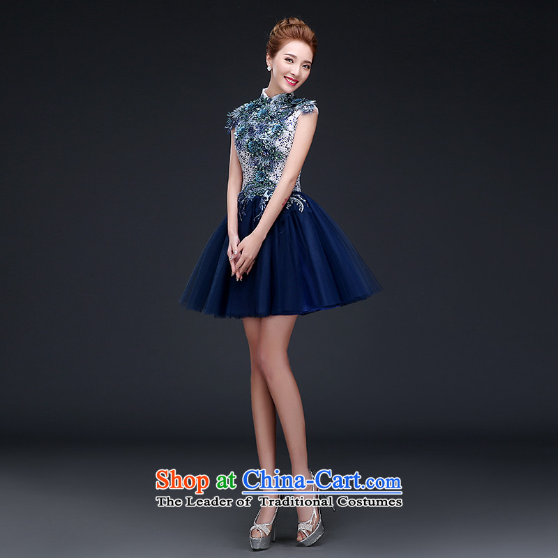 The Republika Srpska divas?new 2015 personality Evening Dress Short sleeveless embroidered dress bon bon ball reception party small dresses annual dresses female Blue?M