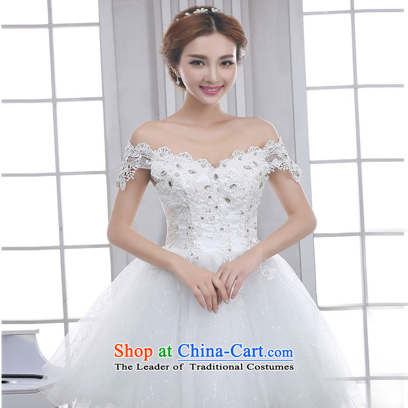 The knot true love beauty wedding dresses 2015 new evening dresses lace bridesmaid service, the white field shoulder small dress skirt female white?M