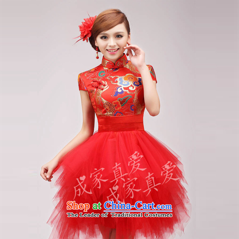 The knot true love robes of the dragon, improved Chinese marriage of autumn and winter clothing/red stylish bows length) Bride cheongsam red waist wave wrinkle?S