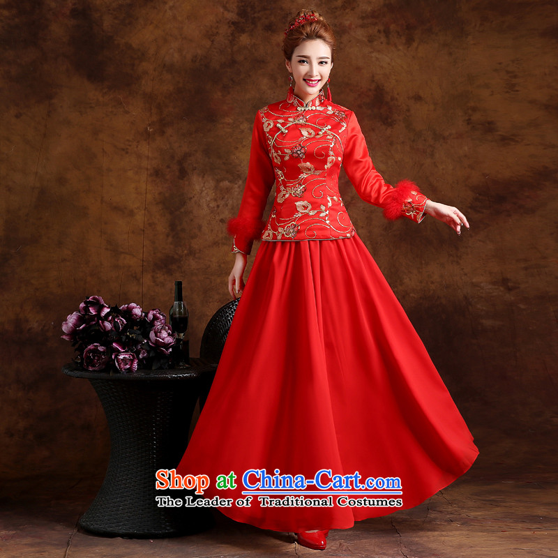 The knot true love winter bows services improved new 2015 qipao stylish wedding dress bride retro long-sleeved long red?M