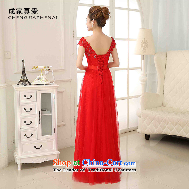 The knot true love bows Service Bridal Fashion 2015 new word wedding dresses shoulder deep V-Neck long marriage evening dress autumn and winter red XL, true love.... Chengjia shopping on the Internet