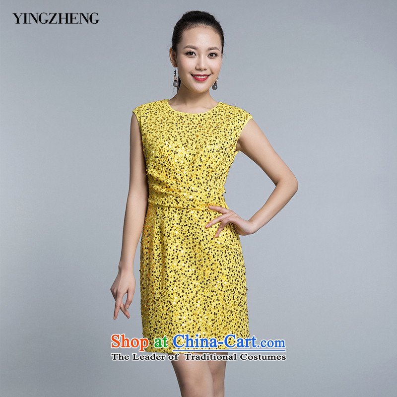 ?Welcome governance YINGZHENG dresses dress dress on chip sleeveless?NS524520807??44B_170_96B_ bright yellow