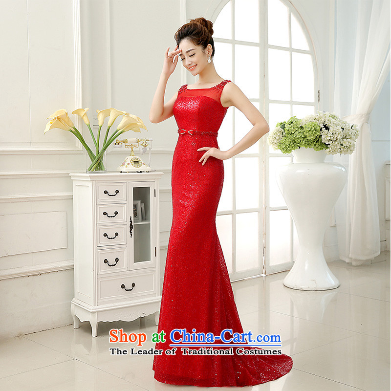 The knot true love bows Service Bridal Fashion 2015 new wedding dress shoulders crowsfoot marriage evening dress tail services under the auspices of autumn and winter red S