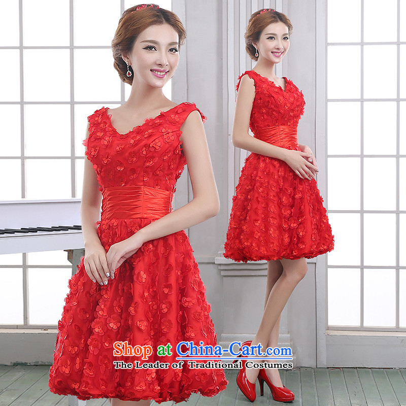 The knot true love bride bows services 2014 new marriage Red slotted shoulder small banquet dress dress marriage short of autumn and winter red?S