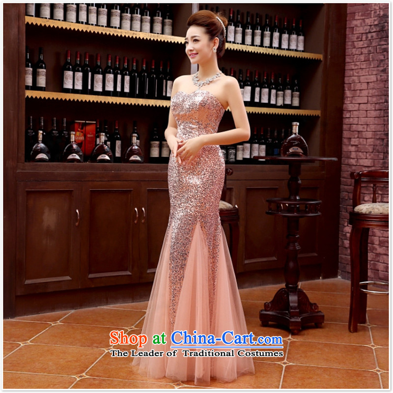 2015 new marriage wedding dresses long) bridesmaid equipped with long marriage evening dresses marriage banquet dress M pink?s