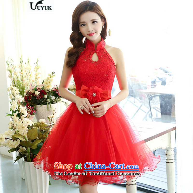 Uyuk  ?new stylish bows services bridesmaid service wedding dresses irrepressible elegant lace the yarn dresses RED?M