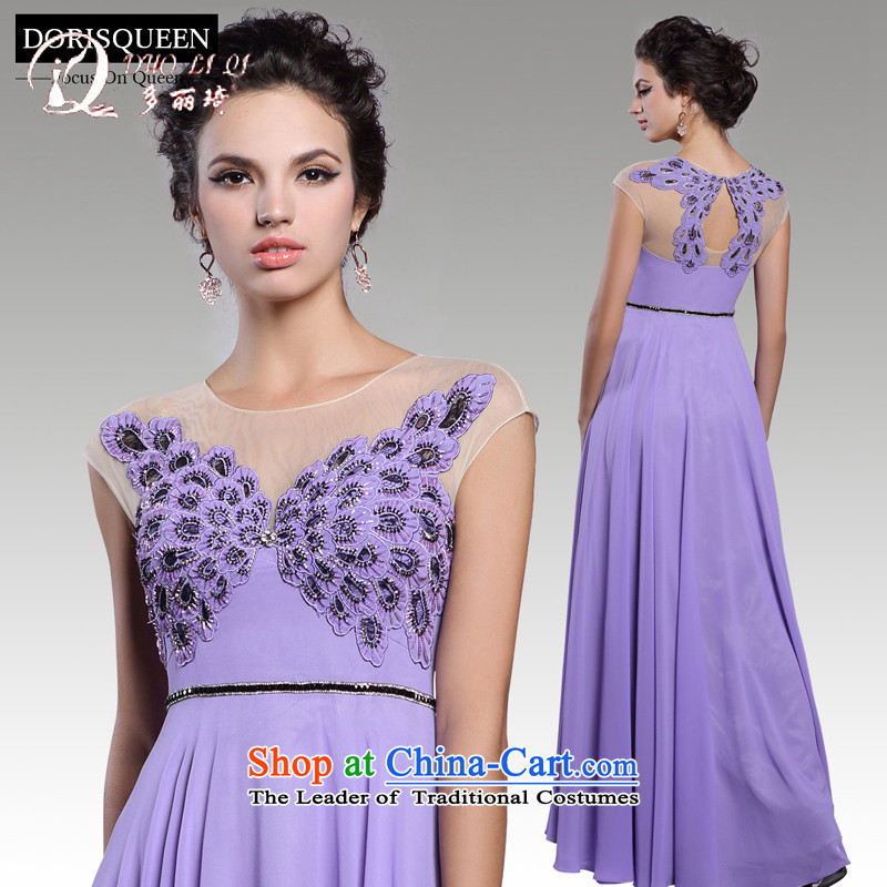 Doris Qi annual spring evening dresses purple long bridesmaid dresses, elegant banquet evening dress with a light purple?M