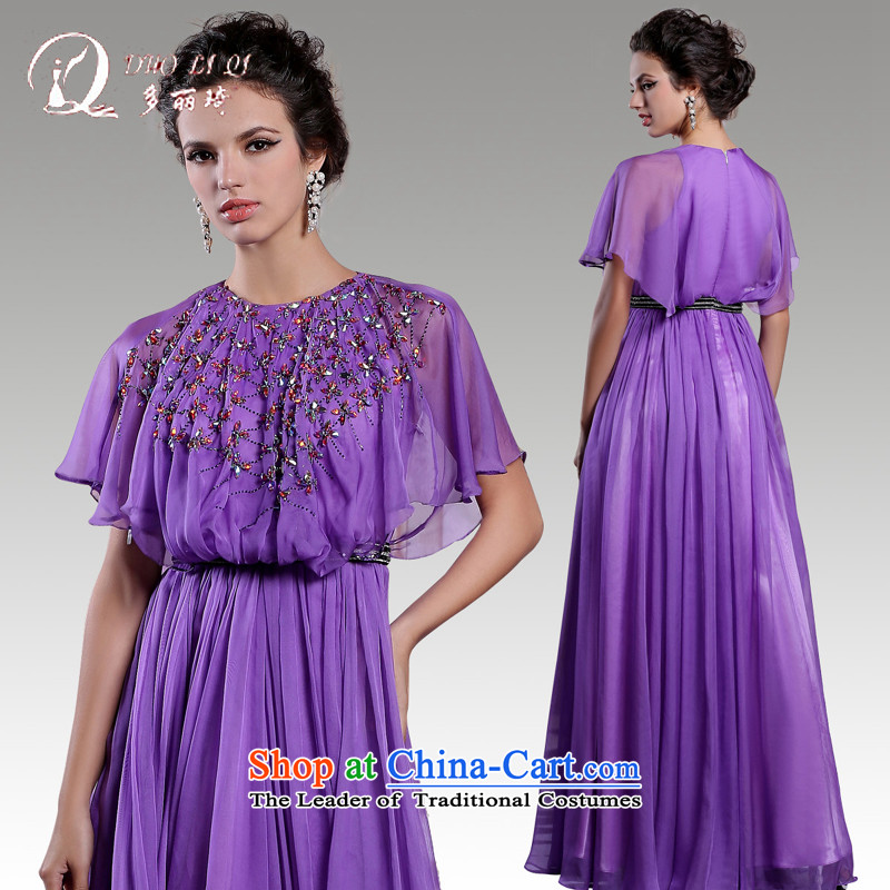 Doris Qi evening dresses bat sleeves long annual meeting of Sau San dress skirt moderator dress with a light purple�L
