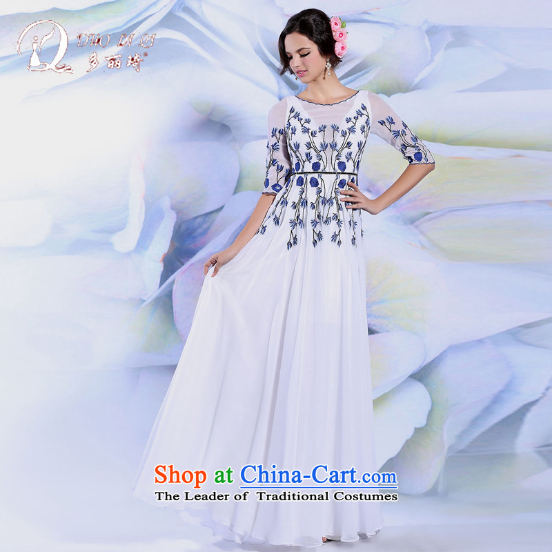 Doris Qi evening dresses 2015 White embroidery long Sau San temperament long skirt moderator dress White?M