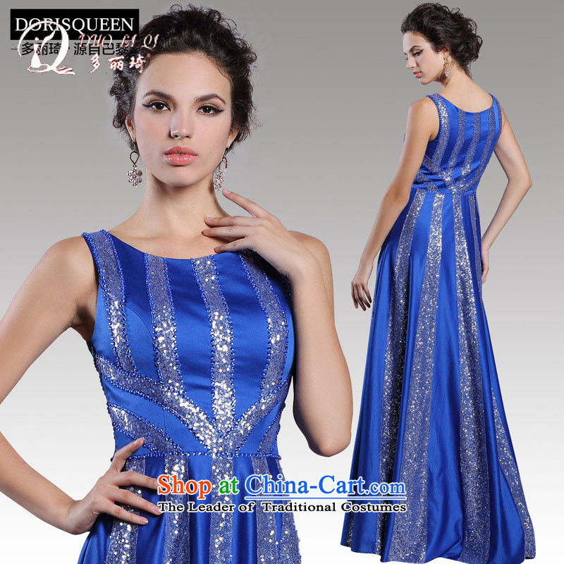 Doris Qi�2015�winter clothing bride bows blue staple-ju long gown banquet dinner dress Blue�M