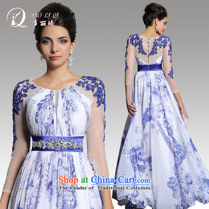 Doris Qi evening dresses spring 2015 China wind Mudan stamp long skirt presided over a long-sleeved blue dress White M