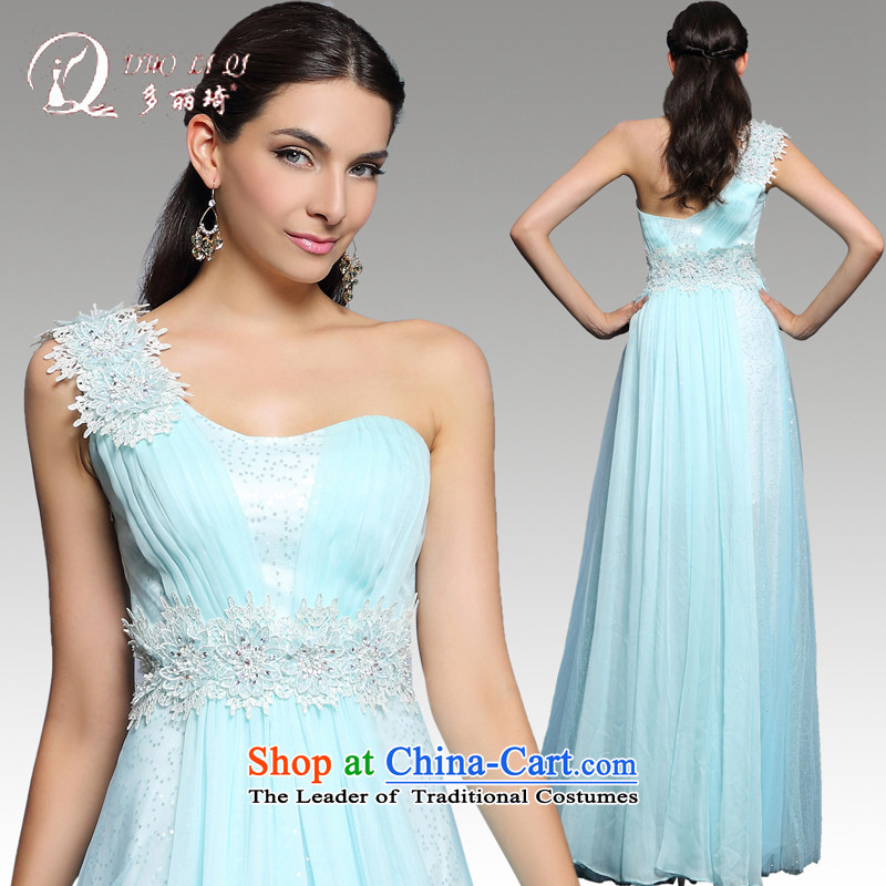 Doris Qi annual dinner dress 2014 winter is long, Sau San sexy shoulder banquet hosted blue dress with a light blue�M