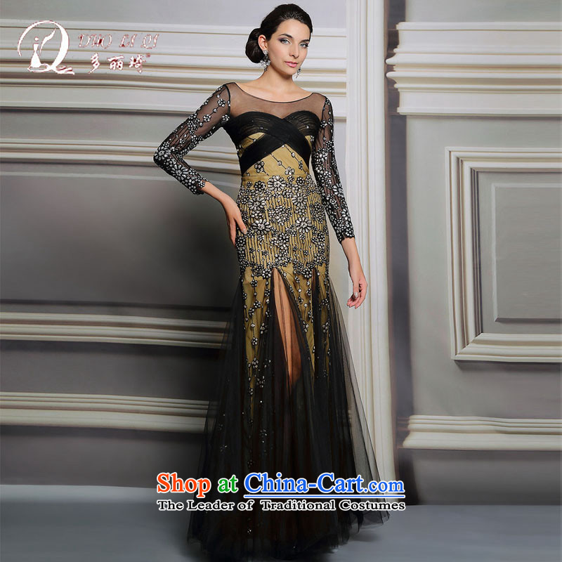 Doris Qi banquet evening dresses spring long party gathering Sau San moderator will black XXL