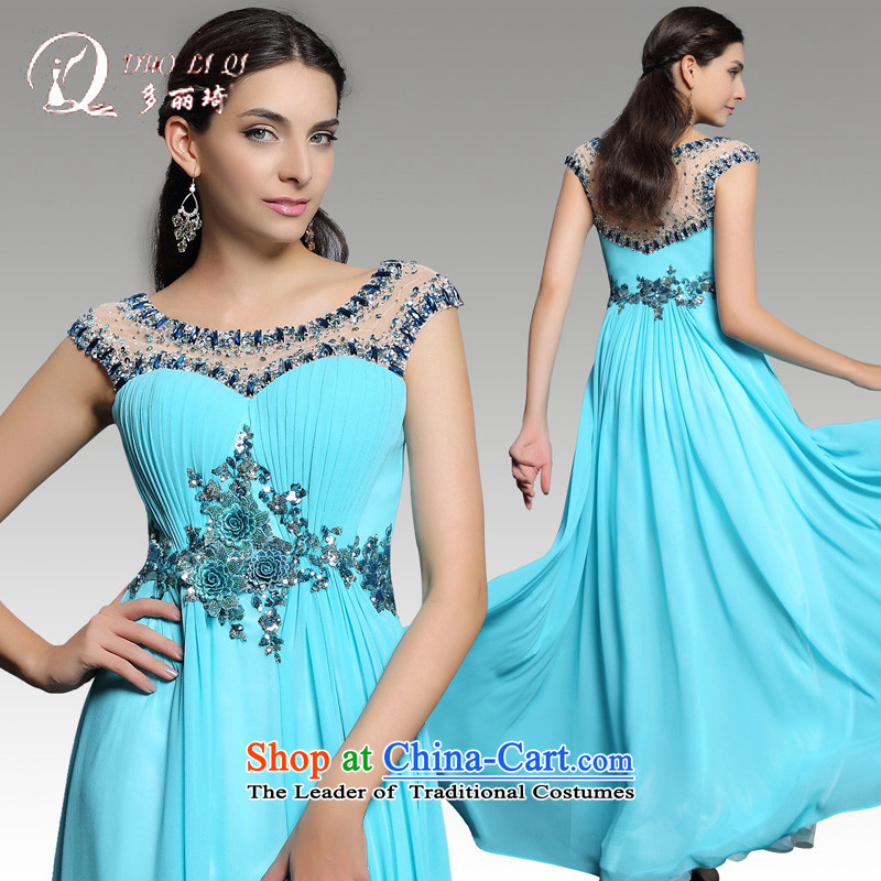 Doris Qi evening dresses Spring 2015 Blue marriage long tail serving drink annual Bluetooth dress light blue�S
