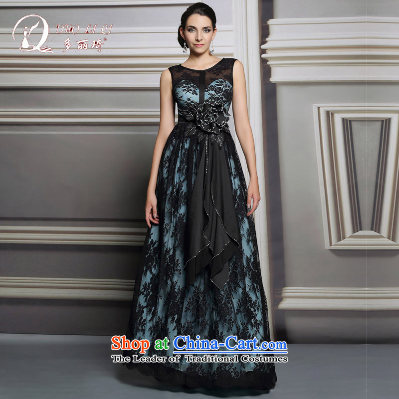 Doris Qi annual winter evening dresses long dinner show the moderator dress female Black聽XL