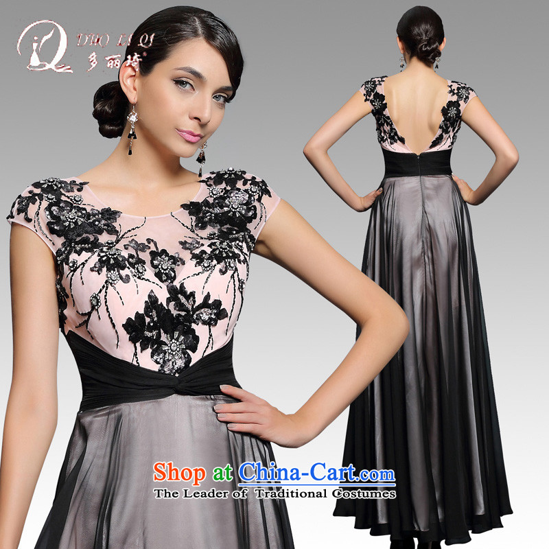 Doris Qi�2015�evening dresses long-sleeved black company annual long banquet hosted dress uniform winter black�M