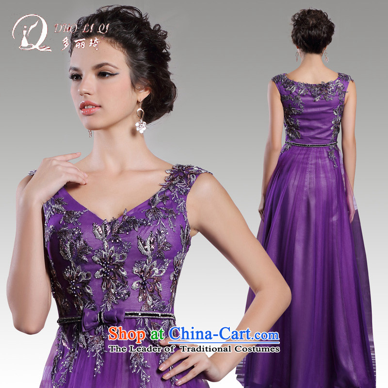 Doris Qi 2015 autumn and winter bridesmaid dress bows service long purple shoulders and sexy banquet dress annual light purple?L