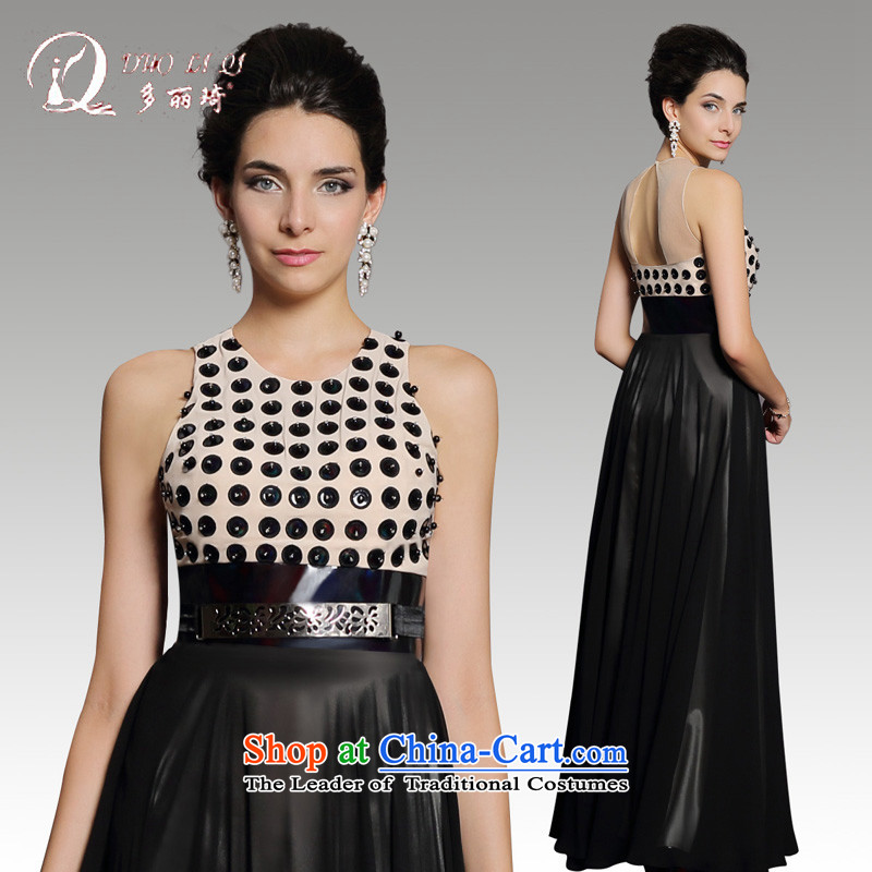 Doris Qi�2015�long black dress, Sau San wave point annual dresses dress winter black�S